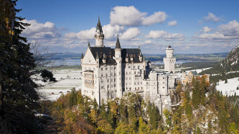 T/L Neuschwanstein Castle In Mountain Landscape, B stock footage