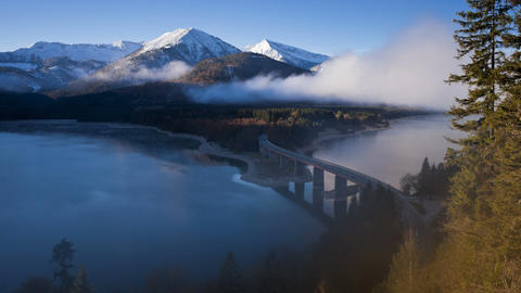 T/L Bridge over Sylvenstein Lake, Bavarian Alps, B Footage