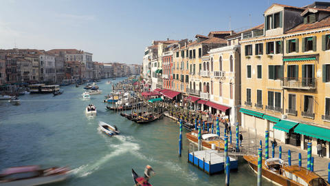 T/LTour boats traveling on Grand Canal near Rialto Footage