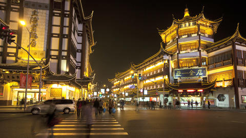 T/L Yuyuan Bazaar district at night, Shanghai, Chi Footage