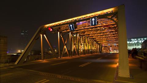 TL Suzhou Creek, Waibaidu (Garden) Bridge, illumin Footage