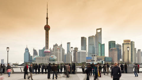 T/L New Pudong skyline, looking across the Huangpu Footage