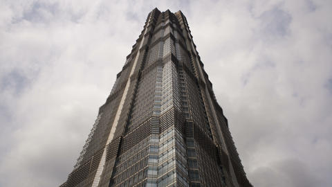 TL Low Angle View Of A Modern Skyscrapper In The T stock footage