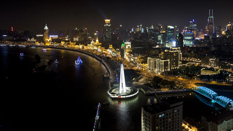 TL Pudong skyline (elevated view across Huangpu Ri Footage