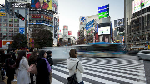 T/L Pedestrians and traffic across Shibuya Crossin Footage