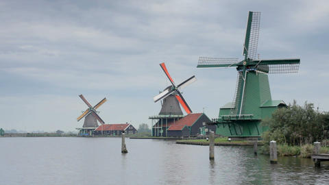 Traditional windmills at Zaanse Schans, Amsterdam, Footage