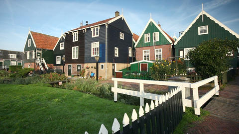 Traditional wooden houses in the village of Marken Footage