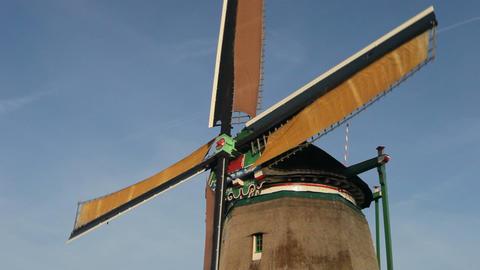 Traditional windmill at Zaanse Schans, Amsterdam,  Footage