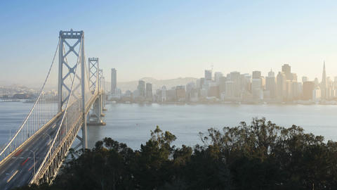 Time lapse of the San Francisco Bay Bridge and Cit Footage