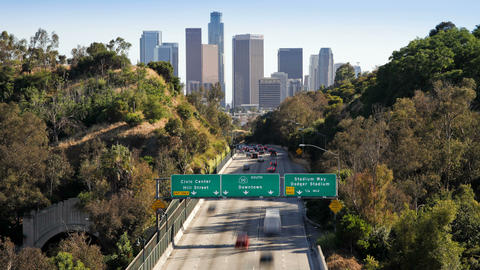 Pasadena Freeway leading into the financial centre Footage