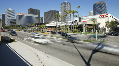 City traffic Century City in the Media district of Footage