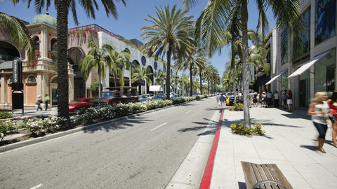 Vehicles on Rodeo Drive, Beverly Hills, Los Angele Footage