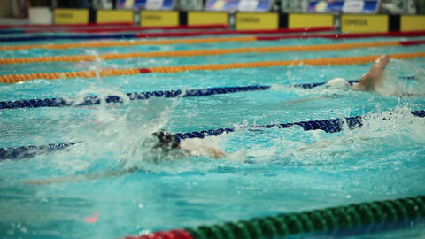 Competing In A Swimming Race stock footage