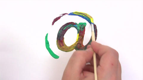 Painting a Colorful At Sign - Time Lapse Footage
