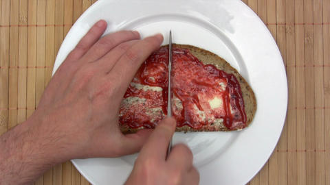 Bread with Butter and Jam - Time Lapse Footage