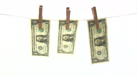 Banknotes on Clothesline Footage