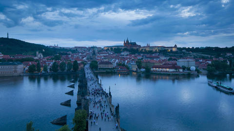 Elevated view across the Charles Bridge over the R Footage