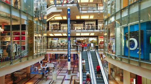 Shopping center interior, Prague, Czech Republic,  Live Action