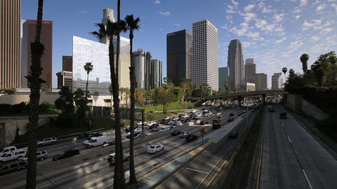 The 110 Harbour Freeway and Downtown Los Angeles s Footage