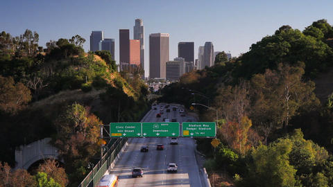 Pasadena Freeway, CA Highway 110, Leading to Downt Footage