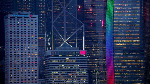 Hong Kong skyline at dusk, Central business and fi ภาพวิดีโอ