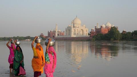 Taj Mahal, UNESCO World Heritage Site, across the  Footage