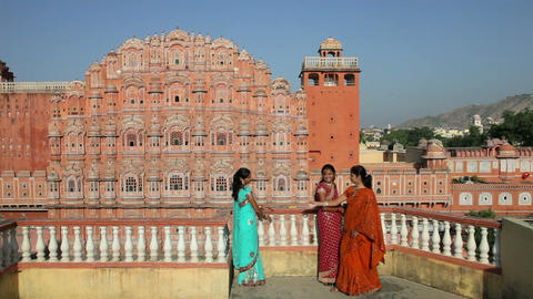 Palace of the Winds, built in 1799, women in colou Footage