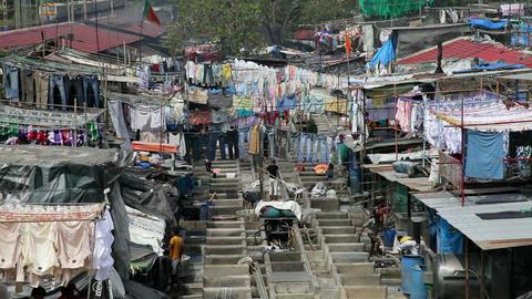 Washing, Dhobi Ghats, Mahalakshmi, Mumbai Bombay,  Footage