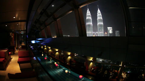 View from a rooftop pool and skybar of the iconic  Footage