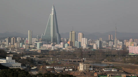 Pyongyang, Ryugyong Hotel, Now An Iconic Symbol Of stock footage