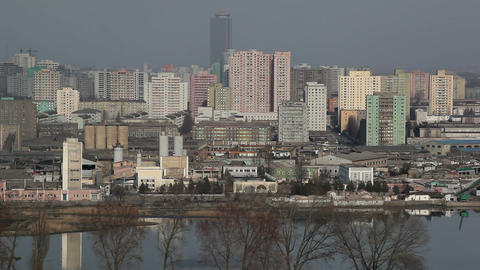 Pyongyang, factorys and apartment buildings in the Footage