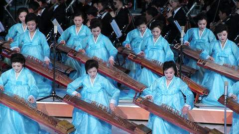 Pyongyang, Women performing during a concert at th Footage