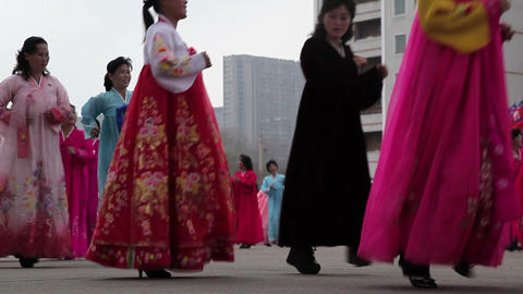 Pyongyang, mass dancing in the streets to celebrat 영상물