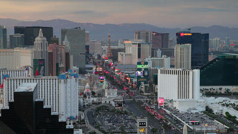 Elevated View Of Casinos On The Strip, Las Vegas,  stock footage
