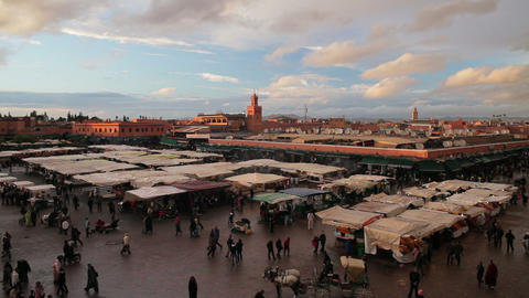 Elevated view over the Djemaa el-Fna, Marrakech, M Footage