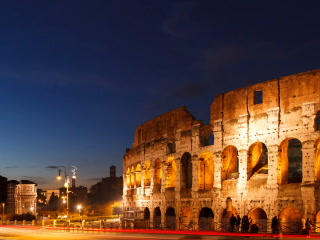 Colosseum at sunset. Rome, Italy. Time Lapse. 320x Footage