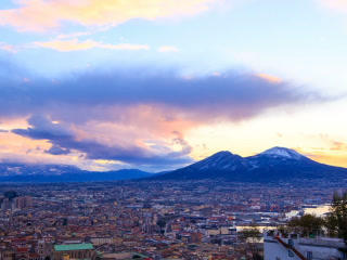 Mount Vesuvius. Dawn over Naples. Time Lapse. 320x Footage