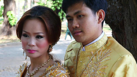 Bride And Groom. Cambodia stock footage