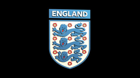 3D England Team Badge Rotating Matte & Fill stock footage