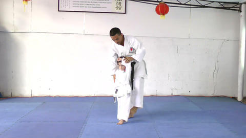 Karate Master With His Young Student stock footage