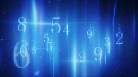 Flying Pass Twitching Glowing Numbers Loop stock footage