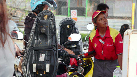 Motorbikes in gasoline station Footage