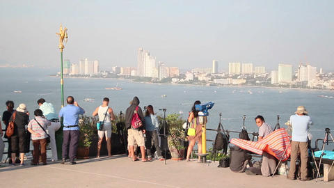 People on view point of Pattaya Live Action