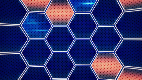 flashing blue orange hexagons loopable background Animation