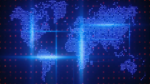 Digital World Map stock footage
