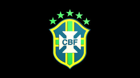 3D Brazil Team Badge Rotating Matte & Fill stock footage