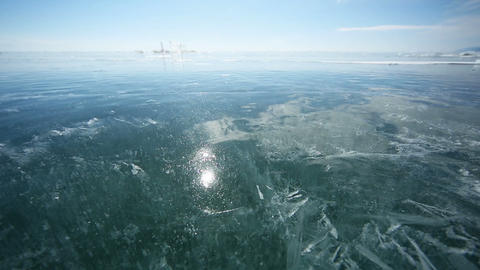 Panorama of ice with reflection of the sun Footage
