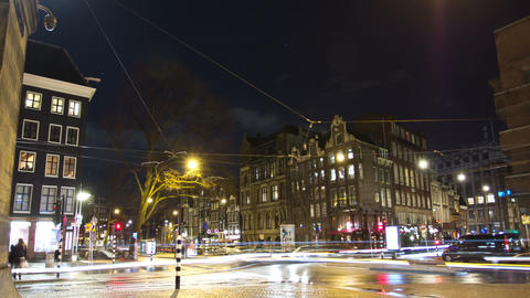 Night traffic of Amsterdam at night. Time lapse Footage