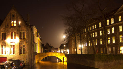 Bruges (Brugge) canal in the evening, Belgium. Tim Footage