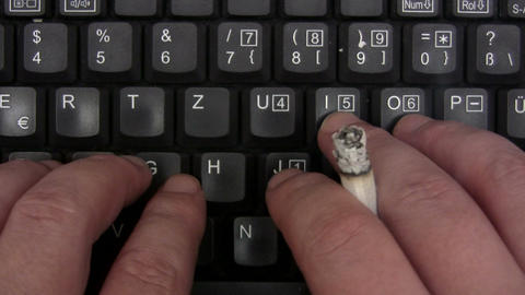 Smoking While Typing Footage